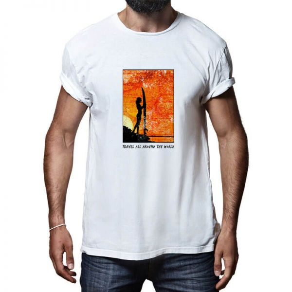 T shirt Travel all around the world Homme version Fire