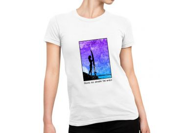 T shirt Travel all around the world Femme versions Blue