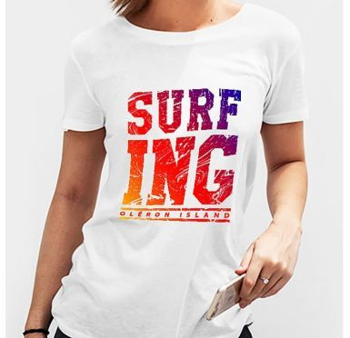 Zoom t-shirt Surfing Oléron island Femme
