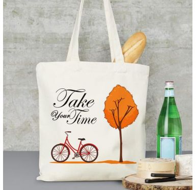 Exemple Sac en tissu plage, marché, ville Take your Time